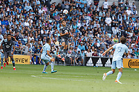 ST. PAUL, MN - AUGUST 21: Hassani Dotson #31 of Minnesota United FC with a header during a game between Sporting Kansas City and Minnesota United FC at Allianz Field on August 21, 2021 in St. Paul, Minnesota.