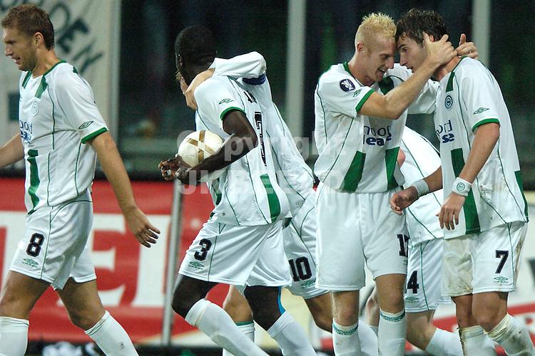 groningen, euroborg   fc groningen - fiorentina  uefa cup seizoen 2007-2008 20-9-2007 meerdink knuffelt lovre