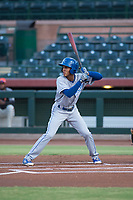AZL Royals center fielder Raymond Lopez (15) at bat during an Arizona League game against the AZL Giants Black at Scottsdale Stadium on August 7, 2018 in Scottsdale, Arizona. The AZL Giants Black defeated the AZL Royals by a score of 2-1. (Zachary Lucy/Four Seam Images)