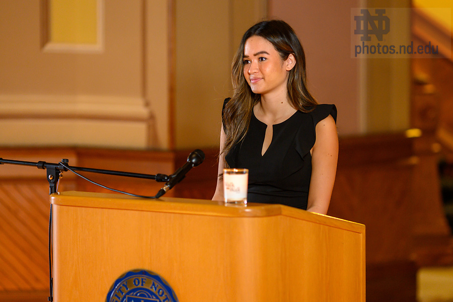 February 17, 2021; Notre Dame Student Body President Rachel Ingal records a segment for the 2021 Walk the Walk Week program. The annual event was modified from an in-person gathering to a recorded presentation due to ongoing COVID-19 protocols. (Photo by Matt Cashore/University of Notre Dame)