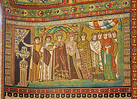 Mosaic depicting Empress Theodora and attendants. Byzantine Roman mosaics of the Basilica of San Vitale in Ravenna, Italy. Mosaic decoration paid for by Emperor Justinian I in 547. A UNESCO World Heritage Site