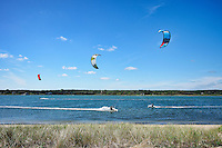Kitesurfing, Sengekontac Pond, Martha's Vineyard, Massachusetts, USA