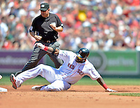 10 June 2012: Boston Red Sox designated hitter David Ortiz slides safely into second with a double against the Washington Nationals at Fenway Park in Boston, MA. The Nationals defeated the Red Sox 4-3 to sweep their 3-game interleague series. Mandatory Credit: Ed Wolfstein Photo