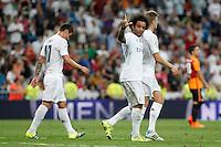 Real Madrid´s Marcelo Vieira celbrates a goal during Santiago Bernabeu Trophy match at Santiago Bernabeu stadium in Madrid, Spain. August 18, 2015. (ALTERPHOTOS/Victor Blanco)