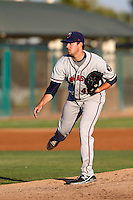 Brady Rodgers #43  of the Lancaster JetHawks pitches against the Modesto Nuts at John Thurman Stadium on August 8, 2013 in Modesto, California. Modesto defeated Lancaster, 6-2. (Larry Goren/Four Seam Images)