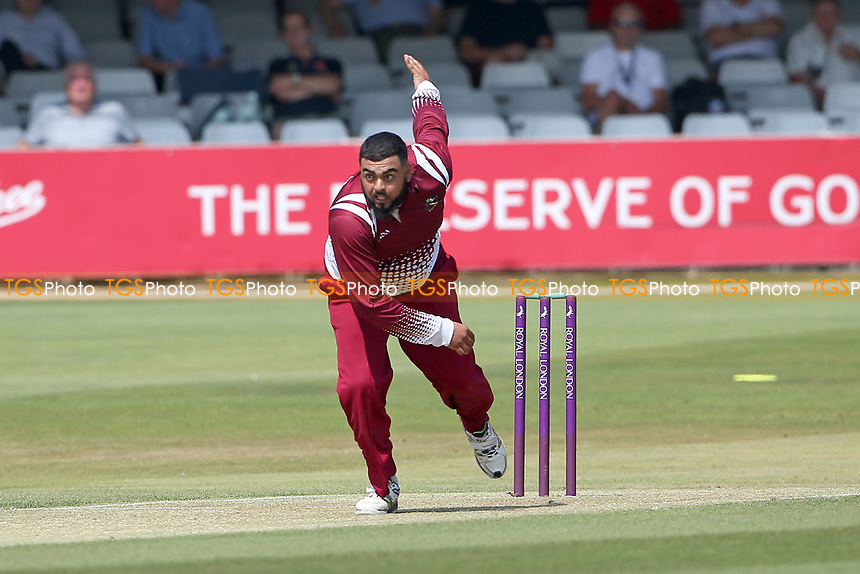 Waqas Hussain in bowling action for Cambridgeshire during Essex Eagles vs Cambridgeshire CCC, Domestic One-Day Cricket Match at The Cloudfm County Ground on 20th July 2021