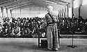 Iraq 1963 .Mustafa Barzani delivering a speach  in a warehouse during the conference of Koysanjak.Irak 1963.Mustafa Barzani faisant un discours dans un hangar pendant la conference de Koysanjak