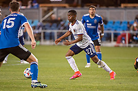 SAN JOSE, CA - MAY 01: Moses Nyeman #27 of DC United dribbles the ball during a game between San Jose Earthquakes and D.C. United at PayPal Park on May 01, 2021 in San Jose, California.