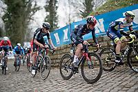 Tom Pidcock (GBR/Ineos Grenadiers) up the Kapelmuur / Muur van Geraardsbergen<br /> <br /> 76th Omloop Het Nieuwsblad 2021<br /> ME(1.UWT)<br /> 1 day race from Ghent to Ninove (BEL): 200km<br /> <br /> ©kramon
