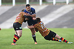 Quins pair Torrin Myhill and Steffan Hughes combine to stop Leinster centre Ben Te'o.<br /> British & Irish Cup<br /> Carmarthen Quins v Leinster A<br /> Carmarthen Park<br /> 25.10.14<br /> ©Steve Pope-SPORTINGWALES