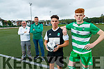 Brothers Terry and Wayne Sparling who play for Killarney Celtic will play against each other as the Killarney Celtic A and B teams have both reached the Kerry soccer league cup final, pictured with assistant managers Diarmuid Daly and Tim Jones.
