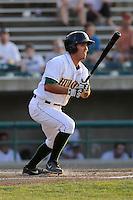 Third baseman Eric Garcia (12) of the Lynchburg Hillcats bats in a game against the Wilmington Blue Rocks on Tuesday, June 25, 2013, at Calvin Falwell Field in Lynchburg, Virginia. Lynchburg won, 3-2. (Tom Priddy/Four Seam Images)
