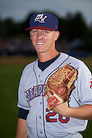 Mahoning Valley Scrappers pitcher Brock Hartson (20) poses for a photo before a game against the Batavia Muckdogs on July 3, 2015 at Dwyer Stadium in Batavia, New York.  Batavia defeated Mahoning Valley 7-4.  (Mike Janes/Four Seam Images)