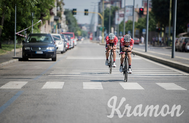 Julien Bernard (FRA/Trek-Segafredo) & Peter Stetina (USA/Trek-Segafredo) during their morning recon/trainingride on the iTT course towards Milano<br /> <br /> stage 21: Monza - Milano (29km)<br /> 100th Giro d'Italia 2017