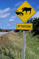 moose, caution sign, Newfoundland, NF, Canada, Attention Moose, sign, road sign