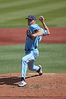 Old Dominion Monarchs relief pitcher Brad Dobzanski (47) in action against the Charlotte 49ers at Hayes Stadium on April 25, 2021 in Charlotte, North Carolina. (Brian Westerholt/Four Seam Images)