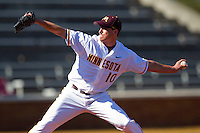 Starting pitcher Phil Isaksson #10 of the Minnesota Golden Gophers in action against the Towson Tigers at Gene Hooks Field on February 26, 2011 in Winston-Salem, North Carolina.  The Gophers defeated the Tigers 6-4.  Photo by Brian Westerholt / Sports On Film