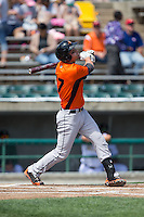 Trey Mancini (27) of the Frederick Keys follows through on his swing against the Lynchburg Hillcats at Calvin Falwell Field at Lynchburg City Stadium on May 14, 2015 in Lynchburg, Virginia.  The Hillcats defeated the Keys 6-3.  (Brian Westerholt/Four Seam Images)