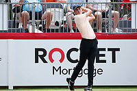 3rd July 2021, Detroit, MI, USA;   Davis Thompson hits his tee shot on the first hole on July 3, 2021 during the Rocket Mortgage Classic at the Detroit Golf Club in Detroit, Michigan.