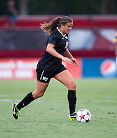 Katie Stengel (12) of Wake Forest brings the ball forward during the game at Ludwig Field in College Park, MD.  Maryland defeated Wake Forest, 1-0.