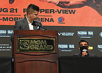 LAS VEGAS, NV - AUG 19:  Ray Flores and Victor Ortiz at the undercard press conference at the MGM Grand Garden Arena on August 19, 2021 for the upcoming Fox Sports PBC pay-per-view fight in Las Vegas, Nevada. Pacquaio vs Ugas pay-per-view will be on August 21 at T-Mobile Arena in Las Vegas. (Photo by Scott Kirkland/Fox Sports/PictureGroup)
