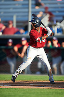 Mahoning Valley Scrappers center fielder Gabriel Mejia (1) at bat during a game against the Auburn Doubledays on July 17, 2016 at Falcon Park in Auburn, New York.  Mahoning Valley defeated Auburn 3-2.  (Mike Janes/Four Seam Images)