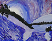 """MIDNIGHT MOUNTAINS"" Inspired by an evening in Glacier National Park, this impressionistic painting depicts a rising moon over a wintry forest and frozen lake.<br />
