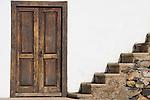 Spain, Canary Islands, La Palma, Las Tricias: residential building, door, stairs