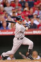 New York Yankees shortstop Derek Jeter #2 bats against the Los Angeles Angels at Angel Stadium on September 10, 2011 in Anaheim,California. Los Angeles defeated New York 6-0.(Larry Goren/Four Seam Images)