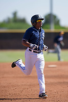 San Diego Padres infielder Eguy Rosario (1) jogs off the field between innings during an Instructional League game against the Milwaukee Brewers on September 27, 2017 at Peoria Sports Complex in Peoria, Arizona. (Zachary Lucy/Four Seam Images)