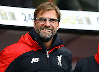 Liverpool manager Jurgen Klopp smiles during the Barclays Premier League match between Swansea City and Liverpool played at the Liberty Stadium, Swansea on 1st May 2016