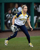 Michigan Wolverines outfielder Kelly Christner (21) during the season opener against the Florida Gators on February 8, 2014 at the USF Softball Stadium in Tampa, Florida.  Florida defeated Michigan 9-4 in extra innings.  (Copyright Mike Janes Photography)