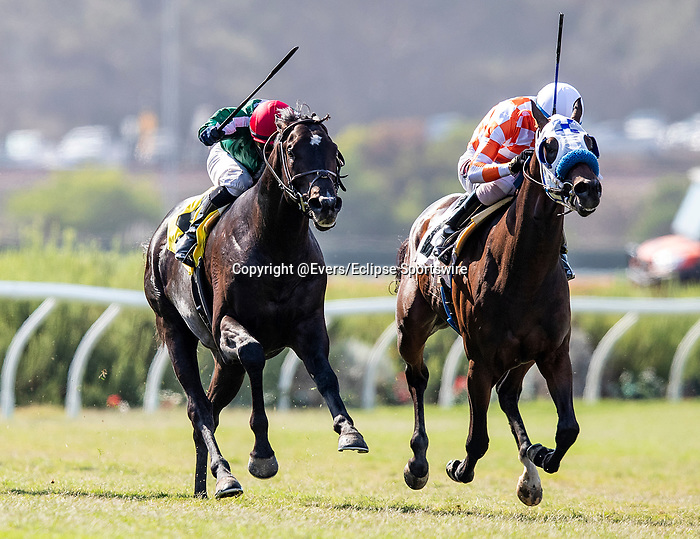 AUG 15: Caisson with Flavien Prat breaks his maiden at Del Mar Racecourse in Del Mar, California on August 15, 2020. Evers/Eclipse Sportswire/CSM
