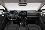 Stock photo of straight dashboard view of 2020 Hyundai Ioniq-Electric Shine 5 Door Hatchback Dashboard