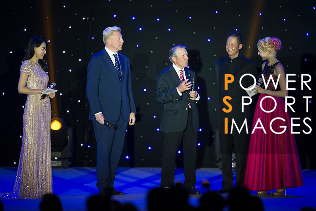 Boris Becker (left) and Gary Player (right) during the Opening Ceremony of the the World Celebrity Pro-Am 2016 Mission Hills China Golf Tournament on 20 October 2016, in Haikou, China. Photo by Marcio Machado / Power Sport Images