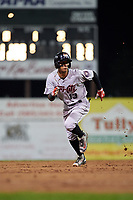 Tri-City ValleyCats shortstop Miguelangel Sierra (13) runs the bases during a game against the Batavia Muckdogs on July 14, 2017 at Dwyer Stadium in Batavia, New York.  Batavia defeated Tri-City 8-4.  (Mike Janes/Four Seam Images)