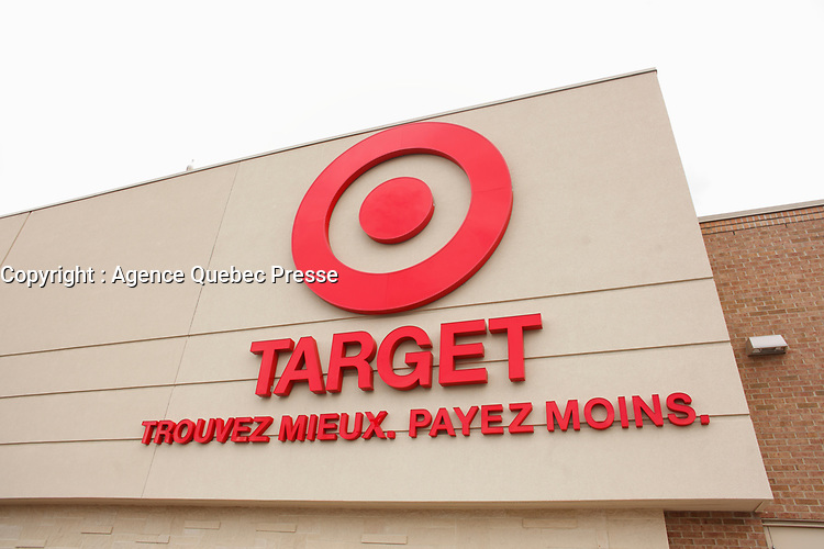French sign of Target store in Quebec province, May 2014<br /> <br /> Photo : Agence Quebec Presse -Pierre Roussel