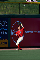 Clearwater Threshers center fielder Zachary Coppola (19) settles under a fly ball during a game against the Dunedin Blue Jays on April 7, 2017 at Spectrum Field in Clearwater, Florida.  Dunedin defeated Clearwater 7-4.  (Mike Janes/Four Seam Images)