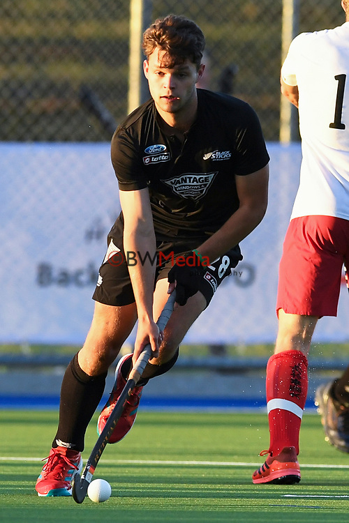 Black Sticks Dominic Newman in action during a match against Canada.<br /> International Hockey, Black Sticks men v Canada. Warkworth Hockey Turf, Warkworth, Auckland, New Zealand. Wednesday 17 October 2018. Photo: Hockey NZ
