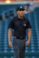 Umpire Luis Avalos during an Arizona League game between the AZL Cubs 1 and the AZL Athletics Gold at Sloan Park on June 20, 2019 in Mesa, Arizona. AZL Athletics Gold defeated AZL Cubs 1 21-3. (Zachary Lucy/Four Seam Images)
