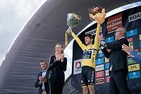 new yellow jersey / GC leader Adam Yates (GBR/Mitchelton-Scott) celebrated on the podium<br /> <br /> Stage 4 (ITT): Roanne to Roanne (26.1km)<br /> 71st Critérium du Dauphiné 2019 (2.UWT)<br /> <br /> ©kramon