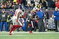FOXBORO, MA - OCTOBER 10: New England Patriots Runningback Brandon Bolden (38) running near the sideline during a game between New York Giants and New England Patriots at Gillettes on October 10, 2019 in Foxboro, Massachusetts.