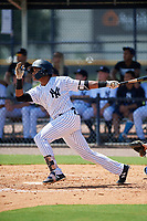 GCL Yankees East first baseman Starlin Paulino (6) flies out during a game against the GCL Blue Jays on August 2, 2018 at Yankee Complex in Tampa, Florida.  GCL Yankees East defeated GCL Blue Jays 5-4.  (Mike Janes/Four Seam Images)