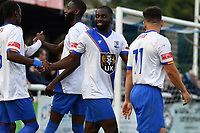 Percy Kiangebeni of Enfield Town scores the equaliser and celebrates during Enfield Town vs Worthing, Pitching In Isthmian League Premier Division Football at the Queen Elizabeth II Stadium on 16th October 2021