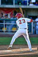 Brennan Morgan (23) of the Orem Owlz at bat against the Grand Junction Rockies in Pioneer League action at Home of the Owlz on July 7, 2016 in Orem, Utah. The Owlz defeated the Rockies 15-3. (Stephen Smith/Four Seam Images)