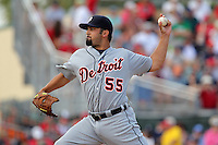 Detroit Tigers pitcher Daniel Schlereth #55 delivers a pitch during a spring training game against the St Louis Cardinals at Roger Dean Stadium on March 28, 2012 in Jupiter, Florida.  Cardinals defeated the Tigers 9-5.  (Mike Janes/Four Seam Images)