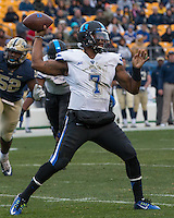 Duke quarterback Anthony Boone. The Duke Blue Devils defeated the Pitt Panthers 51-48 at Heinz Field, Pittsburgh Pennsylvania on November 1, 2014.