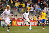 Maurice Edu (19) of the United States (USA). The men's national teams of the United States (USA) and Colombia (COL) played to a 0-0 tie during an international friendly at PPL Park in Chester, PA, on October 12, 2010.
