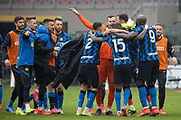 milan-inter - milano 21 febbraio 2021 - 23° giornata Campionato Serie A - nella foto: inter esultanza di gruppo finale vittoria derby