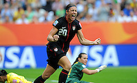 Abby Wambach of team USA celebrates during the FIFA Women's World Cup at the FIFA Stadium in Dresden, Germany on July 10th, 2011.